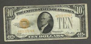 1928 U.S. $10 Gold Certificate - Woods/Mellon - Solid FINE