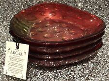 AKCAM Strawberry Shortcake Glass Dish Plate Trinket Set of Four Handmade New!
