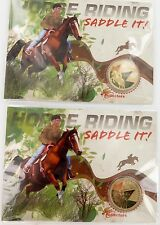 2 x 2013 PERTH MINT HORSE RIDING, SADDLE IT! $1 MINT UNOPENED IN PLASTIC SLEEVES