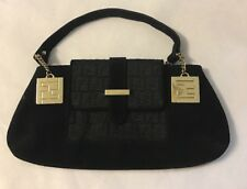 fendi monogram & Gold Hardware handbag Black Evening Bag Authentic