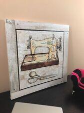 Wall Art Print Canvas FRAMED Home Decor Glitter Sewing Machine Scissors (16X16)