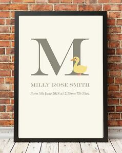 Personalised Baby Gift Duck Print Christening Nursery A4 Poster Print PO6