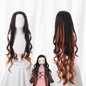 Demon Slayer Kimetsu no Yaiba Kamado Nezuko Long Curly Hair Wig Cosplay Costume