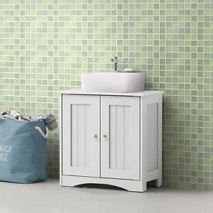 White Bathroom Storage Sink Under Basin Pedestal Cabinet Cupboard With Shelves