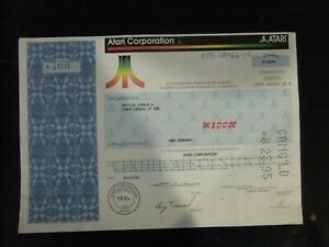 Atari Corporation Stock Certificate 100 shares 07/27/1993