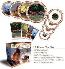 WESTERN COWBOY WILD HORSES 12 Pc Dinnerware Plate Bowl Tumbler TABLEWARE SET New