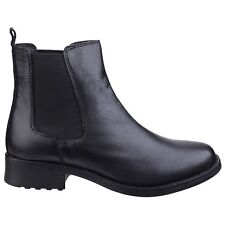 Fleet & Foster Cambridge Leather Chelsea Ankle Pull On Black Boots Ladies Womens