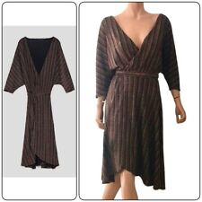 ZARA SHIMMERY CROSSOVER DRESS LONG KIMONO SLEEVES WRAP STYLE V-NECK Copper S