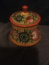 Vintage Painted Floral Wooden Box And Cover Possibly Soviet,Russian,Eastern Bloc