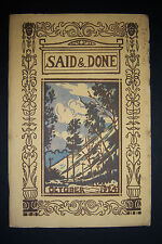 SAID & DONE magazine October 1924, Muskegon High, Hackley Training School.