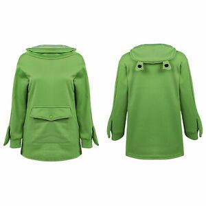 Women's Girls Sweatshirt Cute Frog Rabbit Ears Hooded Casual Loose Pullover Tops