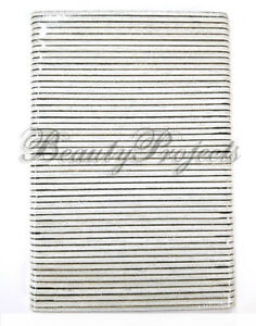 "50pc Professional Black Acrylic Sanding Nail File 80/80 Grit 7"" White Center"