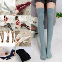 Damen Winter Baumwolle Lange Strümpfe Strick Strumpfhosen Warme Over Knee Socken