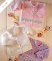(164) DK Crochet Pattern for Pretty Cardigans and Sweater, 16-26'', 0-6yrs