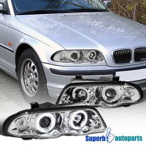 For 1999-2001 BMW E46 4 Door 323i 328i Dual Halo Projector Headlights 99-01