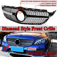 Front Diamond Style Grill For Mercedes Benz W205 C200 C250 C300 C350 2015-2018