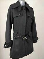 WOMENS OASIS BLACK BUTTON UP WITH BELT BELTED COAT JACKET UK 8