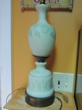 """Table Lamp 30"""" Green Satin Glass early mid century Hand Blown Painted Antique"""