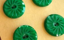 "Vintage Buttons -  6 Matte Green Casein 2-hole 5/8"" Wheel Buttons - France"