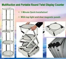 Usa 81 Round Aluminum Spiral Tower Display Counter With Shelves Light Panels