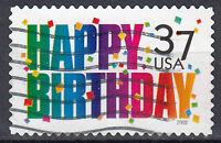 USA Briefmarke gestempelt 37c Happy Birthday Jahrgang 2002 / 1313