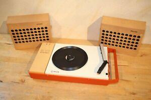 Philips GF 410 Plattenspieler Tragbar mit Boxen, Stereo, 1970's