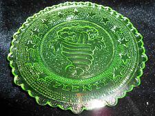 Green Vaseline Horn of Plenty glass plate uranium jewelry tray pin Flower floral