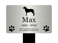 Large Personalised Pet Dog Memorial Stake - Silver / Gold / Copper / Black