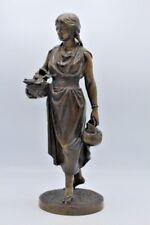 Antique Bronze Sculpture of Woman Holding Seashells in Basket w/ Frog Water Jug