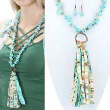 Western Long Copper-Tone And Faux Turquoise Tassel Necklace 32'