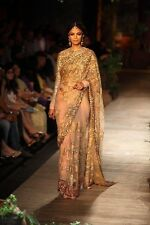 Original Authentic Sabyasachi Designer Gold And Pink Net Saree Sequins