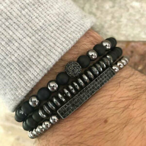 3Pc/Set Micro Pave CZ Ball Matte Beads Stone Charms Bracelets Men Women Jewelry