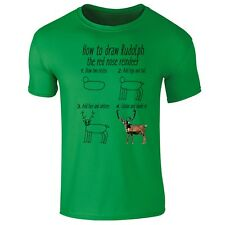 How To Draw Rodolph Reindeer Christmas Funny T-shirt- Mens, Womens, Kids Sizes