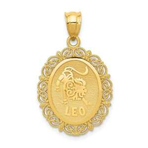 14K Yellow Gold Solid Satin Polished Leo Zodiac Oval Pendant