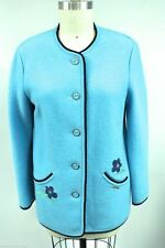 Geiger Austria Boiled Wool Jacket Coat Baby Blue Embroidery Buttons 38/8 S M EUC