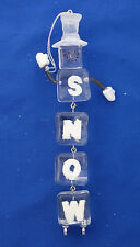"iceskating ice cube acrylic snowman Christmas ornament 6½"" tall"