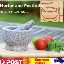 Solid Mortar and Pestle Set Polished Granite Spice Herb Grinding Mill Tool 17cm