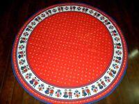 "Vintage Kolf Austria 59"" Round Red Blue Table Cloth Boys Girls FOLK"