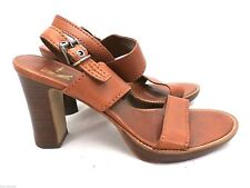 White Mountain Sandals High Block Heels Amy Leather Brown 8 M Preowned