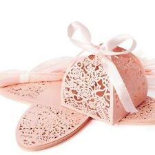 20pcs Candy Chocolate Gift Hollow Boxes With Ribbons for Wedding Engagement Pink