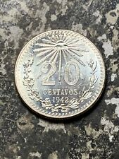 1942 Mexico 20 Centavos Lot#Z7113 Silver! High Grade! Beautiful!