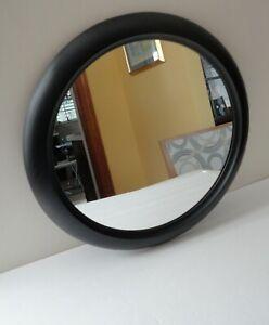"Vtg Modern 1993 Umbra USA 16"" Matte Black Beveled Edge Wall Hanging Mirror Glass"