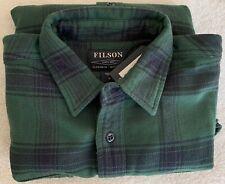 Filson Vintage Flannel Work Shirt Green & Black 100% Cotton, Men's M MSRP $145