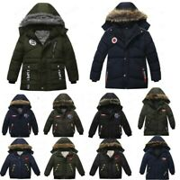 Toddler Kids Baby Boys Winter Warm Thick Jacket Coat Warm Hooded Coat Clothes