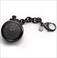 NEW-MARC JACOBS BLACK ALUMINUM KEY CHAIN+MULTI-COLOR LOGO DIAL WATCH-MBM7501