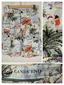 Lands' End 12 Boys Kids Bermuda Shorts Cotton Pockets Tropical Surf Print Cargo
