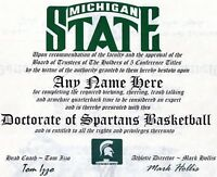 MICHIGAN STATE SPARTANS BASKETBALL~ CERTIFICATE ~ DIPLOMA  ~ MAN CAVE ~