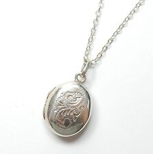 Vintage 925 Sterling Silver Oval Chased Design Photo Locket & Chain 3.8g 16""