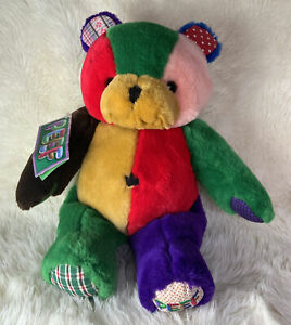 """PEEF Plush The Christmas Bear 13"""" Colorful Tom Hegg 1996 Stuffed Animal"""