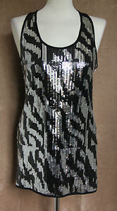 Black & Silver Sequined Long Party Top - Size 10/Age 14-15 - Generation New Look